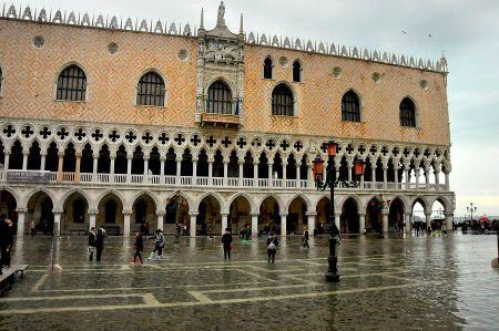 Venice - tidal range causes high tide at St. Mark's Square