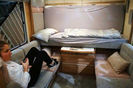 Multi-tasking caravan at Fendt-Caravan both - garage in the bow