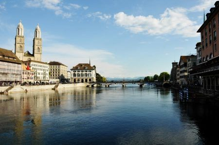 Zurich City and Doves of Lake Zurich