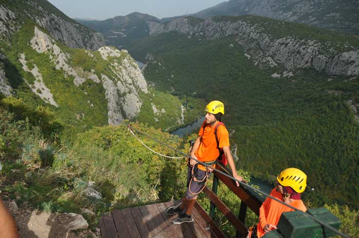 Adventure On The Zip Line High Above The River Cetina