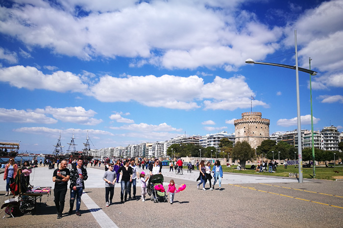 Thessalonica beach promenade is inviting for Sunday walks