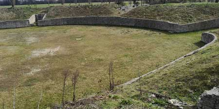 Petronell amphitheatre of Carnuntum next to Vienna