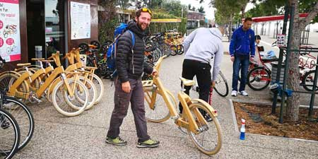 Wooden bicycles are