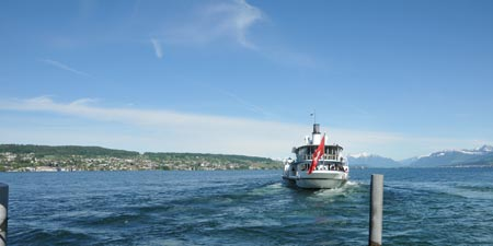 "The paddle steamer ""Stadt Rapperswil"" on Lake Zurich"
