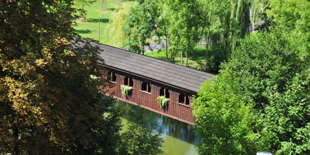 Cheb in Czech Republic - Covered bridge crossing the Eger
