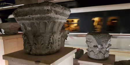 Metro Izmir - ancient artifacts in the station Çankaya