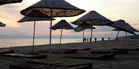 Ayvalik - Sunset on the beach at Sarımsaklı