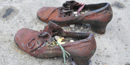 Monument against fascism - shoes on the bank of Danube