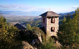 Idyllic mountain chapel Saint Spass high above Vevčani