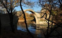 The Konitsa arch bridge crossing the river Aoos