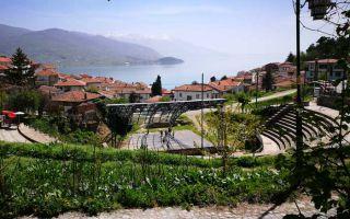 Driving along the lake shore Struga to Ohrid
