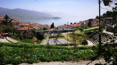 Driving along the lake shore Struga to Ohrid