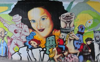 Street art on buildings and bridges in Rudolfstadt