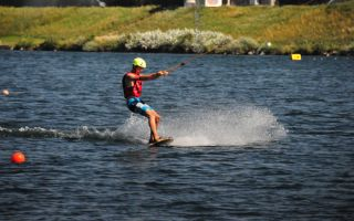 Water skiing facility allows wakeboarding on the Danube