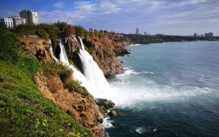 Düden waterfall on the cliffs of Antalya