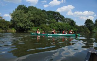 Canoe Trip Along the River Main and Blue Sky of Germany
