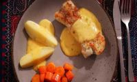 Cod fillet with potatoes, carrots and mustard sauce