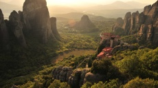 Enjoying sunset on the Meteora Rocks near Kalambaka