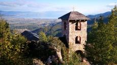 Idyllic mountain chapel high above Vevčani