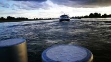 The Rhine ferry Langst-Kaiserswerth - dusk on Rhine river