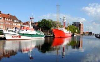 Emden - young looking harbor town at Dollart