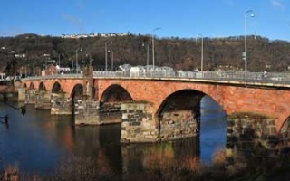 Imposing Roman bridge crossing the Moselle in Trier