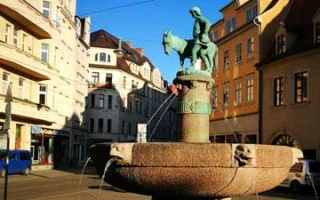 Halle - Donkey fountain and the Beatles Museum at the Old Market